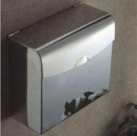 Wholesale 304 stainless steel towel rack toilet tissue box tissue box fully enclosed waterproof tray hand towel rack