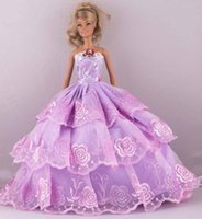 Wholesale New Fashion Handmade PurPle Third tier Lace Wedding Dress Clothes Gown For quot Barbie Doll D1024