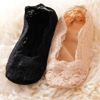 Cheap Wholesale-2015 Women Lace Low-cut Invisible Socks Summer Sock For Women High-heeled Shoes Mate Ballet Footies Cheap Girl Stock MST027