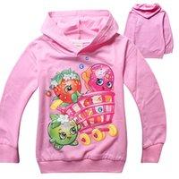 apple sweatshirts - 2015 Girls clothing Sweatshirts hooded coats shirts longsleeve cotton cartoon apple strawberry kid clothes children wear Fall