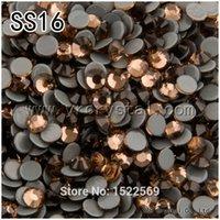 Wholesale 1440pcs Smoked Topaz Color Flatback Strass Glue Base Hot fix Crystal Iron on Rhinestones SS16