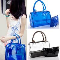 Wholesale Women Sweet PVC Jelly Clear Transparent Bucket Handbag Shoulder Bag BG