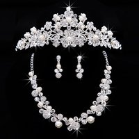stainless steel necklace clasp - Silver Bridal Jewelry Sets Rhinestone Pendant Necklaces and Clip Chandelier Earrings Arabic Saudi Arabia Wedding Prom Dresses Accessories Z
