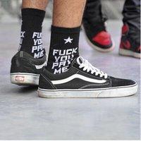Cheap 2015 new fashion fuck you pay me hiphop skateboard fixed gear sport casual long sock men women brand hot sale