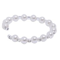 Wholesale Cheap Row Pearl Fashion Wedding Czech Crystal Women bead cuff Ivory Bracelet Wedding Jewelry Bridal Accessories Jewelry Sets