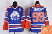 Wholesale Autographed Oilers Wayne Gretzky Blue CCM Vintage Throwback C Patch Jersey Signature Edition Hockey Jerseys Cheap Hockey Wears for Men