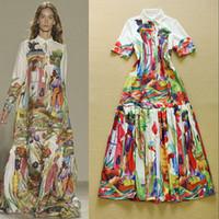 Wholesale Europe and America High Quality Fashion Runway Designer Dress Women s Long Sleeve Beach Retro Art Printed Bohemian Maxi Long Dress