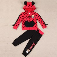 jogging suits - 2015 Spring Baby Girls Cartoon Mickey Sets top Hoodies Trousers Kids Mice Jogging Pants Suits Kids Outfits Children Tracksuit Clothes HS B13