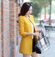 Wholesale 2015 Autumn and Winter women s outerwear candy color trench coat medium long cardigan collarless overcoat with free brooch