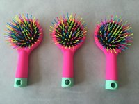 Paddle Brush Damanged Hair PVC New 2015 Rainbow Comb Volume Brush Magic Hairbrush for Hair Tangle Hair Brush Women Comb Candy With Mirror 5pcs