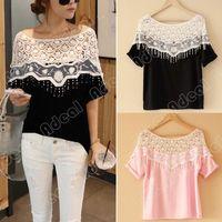 collar t-shirt - Sweet Lace Cutout Shirt Women Handmade Crochet Cape Collar Batwing Sleeve Blouse Medium long T shirt SV004678