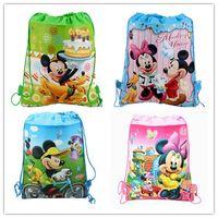 cute drawstring bag - 4 Styles Mickey and Minnie Double shoulder Baby Children Boy Girl Cute Cartoon School Bag Kids Drawstring Backpack