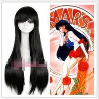 anime wigs usa - gt gt USA seller Sailor Moon Sailor Mars cm Long Straight Black Anime Cosplay Wig