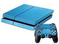 Cheap 3D Carbon Fiber Sticker Wrap Protector Skin For Sony For PS4 Playstation 4 Console Blue Decorate Gift