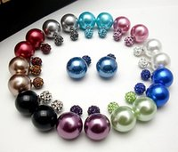 Stud ear pin - 20pieces Pairs X Celebrity Runway Double Pearl Clay Crystal Beads Shamballa Ball Plug Earrings Ear Studs Pin