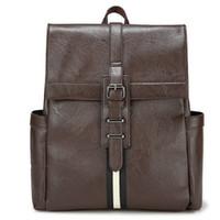 Hommes bruns sacs à dos France-Sac à dos Preppy Sac à bandoulière Brown noir Sac à dos en cuir PU 14