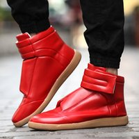 justin boots - Fashion male high layer Autumn boots mmm velcro Skateboarding Shoes sneakers Justin Bieber punk rock high shoes short boots