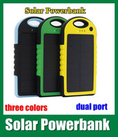 Wholesale 5000mah Solar power Charger for smartphone PAD with Dual Port dual usb interface water proof solar power bank blue green yellow color OTH013