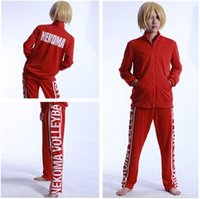 jacket team - Haikyuu Cosplay Costume NEKOMA High School Volleyball Team Unisex Jacket Coat Long Pants Training Suit Sportswear Uniform