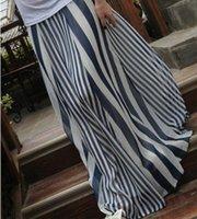 Cheap Casual Womens Long Skirts Irregular Stripes Full-length Maxi Chiffon