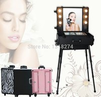 Wholesale FREE SHPPING to US mexico Canada Aluminum makeup case with light cosmetic makeup station with lights beauty trolley train case