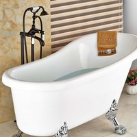 Wholesale And Retail Free Standing Floor Mounted Bathroom Tub Faucet Oil Rubbed Bronze Tub Filler W Hand Shower Sprayer