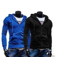 Wholesale New Spring Mens Fleece Hoodies Hit Color Simple Design For Men Sport Dress Slim Sweatshirt Man Hoody Size M XXL