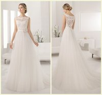 Wholesale 2015 Lace Wedding Dress Long A Line Covered Button Collar Covered Button Sleeveless Designer Wedding Dresses Flower Crystal Bridal Gown