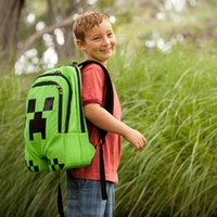 Wholesale MOQ Minecraft Backpack Game My World Children School Bags Kids Boys Mochila Double Shoulder Bag Block Coolie Strange
