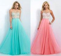 aqua designer dresses - Fashion Aqua Coral Chiffon Prom Dresses Chiffon Sheer Neckline Crystal Backless Designer New Evening Formal pageant Dress Gown