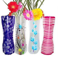 Wholesale Folding Foldable Plastic PVC Flower Vase Home Decoration Mix Various Patterns and Styles