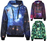 Wholesale 2015 Hot Selling Fashion Pure And Fresh Green Maple Spring Paisley Galaxy Blue Red Men Hoodies With Hat Space Digital Print Sweatshirt