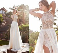 Wholesale Prom Dresses ALL OFF Arrival Sexy White Chiffon Beaded Appliques Lace Halter Side Slit Spring Long Evening Party Gown