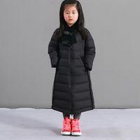 Wholesale Winter Children s Down Coat warm breathable soft light white duck down Down jacket slim Girl long Down Coat Plus size S XXL