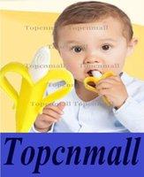 Wholesale Baby Teethers Baby Teething Rings Bite Silicone Banana Toothbrush Without BPA opp bag packing