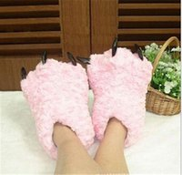 Wholesale The new plush toys cute paws computer tractor slippers large claws slippers wool winter essential Christmas gifts for men and women