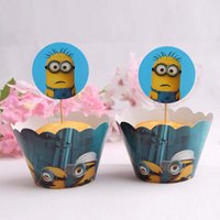 Wholesale minions set Event Minions cupcake Wrapper Despicable Me Cup cake minions cake mould Birthday Supplies minions cup set D1716