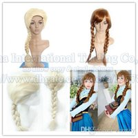 Wholesale retail Womens girls hair wigs cartoon Adult womens Hair Wigs Cosplay Wig Elsa Anna princess fluffy long hair plait ponytail for girls FH02