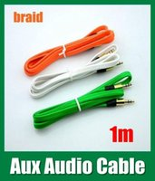 Wholesale Jack male mm Stereo Car Audio Cords AUX Cables Flat fabric braid wire Plug stereo Aux Audio Cable for iphone Mp3 CAB040