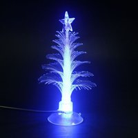 Cheap Wholesale-Mini USB Mutil Color Changing Optical Christmas Tree LED Light X'mas Tree Lamp