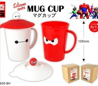 plastic cup with lid - 2015 Big Hero Baymax Home daily cartoon plastic cup water glass hot movie peripheral children toy Birthday Party gifts