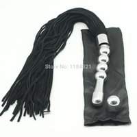 Wholesale multi function suede leather flogger whip with metal handle used as anal butt plug sex leather spankng whip with metal handle