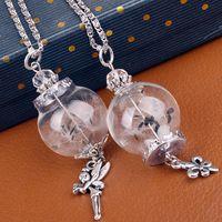 anchor chain necklace - Hot Handmade Ball Glass Bottle Dandelion Filled Wishing Bottle Pendant Fairy Anchor Charm Necklace Bottle Hansenne Fit Metal Chain