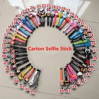Wholesale Cartoon Selfie Stick Self timer Extendable Monopod Tripod Wired Selfie Timer Shutter For iphone plus Samsung S6 S5 S4 Camera smartphone