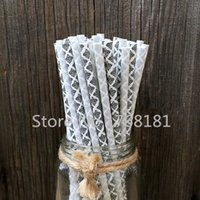 Wholesale 200pcs Mixed colors Black Silver Damask Paper Drinking Straws Wedding Cake Pop Sticks Party Supplies Decorations