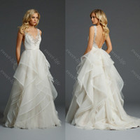 Wholesale 2015 Alvina Valenta Sexy Beach Wedding Dresses Ball Gown Backless Beading Ruffled Tulle Sweep Train Sheer Bridal Gown Custom Dress for Bride