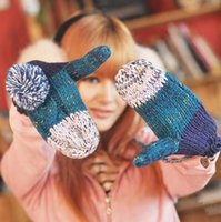 Wholesale K024 Korean twist thick winter wool gloves Halter girls cute mittens two color balls