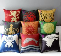 adult car games - Game of Thrones Fury Lannister Hear of Roar Stark Pattern Sofa Pillow Cushion Cover Home Car Decorative A Song of Ice and Fire Pillowcase