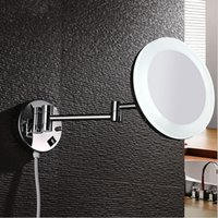 Wholesale copper wall mount LED light degrees rotatating make up mirror makeup mirror double high definition magnify Cosmetic Mirror M