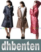 Wholesale LAI1736 Fashion Women Rain Coat Long Slim New Hot Dots Camping Long Parka Clothing Windproof Rain Wear Jacket Hooded Raincoats Quality